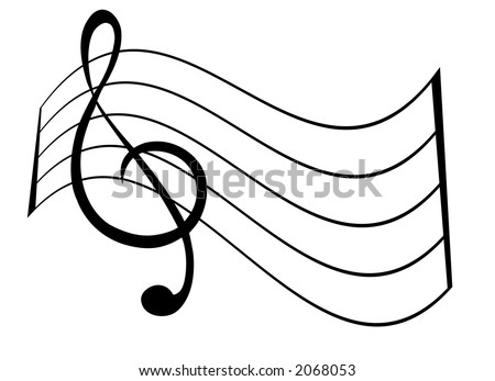 Treble Clef and Staff - stock vector
