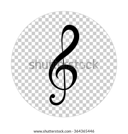 treble clef  - black vector icon - stock vector