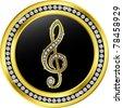 treble clef button, golden with diamonds, vector illustration - stock vector