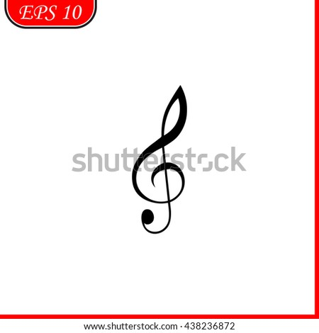 Treble clef icon. Simple black vector symbol. Logo for web. Image for business. - stock vector