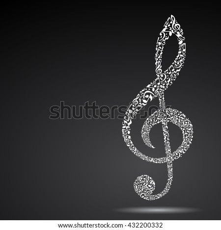 Treble clef made of music notes on black background. White notes pattern. Black and white design. G clef shape. Poster and decoration idea. - stock vector