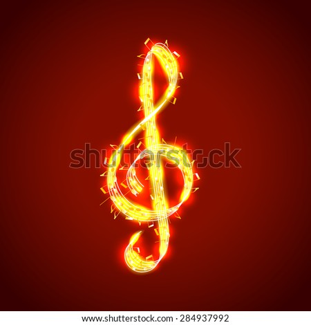 Treble clef of notes, musical photo realistic vector background