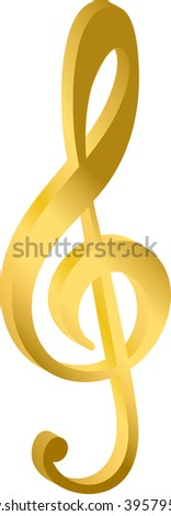 treble clef, the notes music, metal gold, on a white background vector