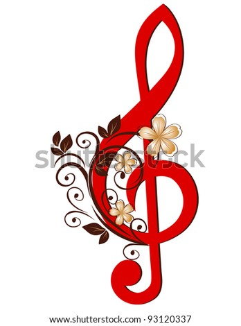 Treble clef with a flower pattern - stock vector