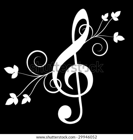 Treble clef with floral emenets - stock vector