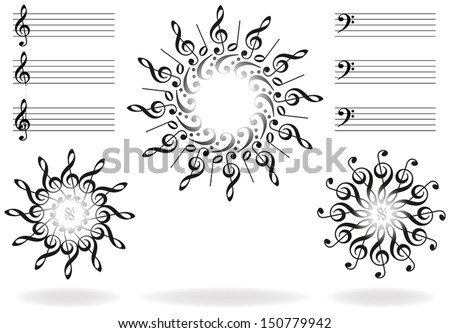 Treble clefs, bass clefs and scores, that form suns and stars. Isolated vector on white background. - stock vector
