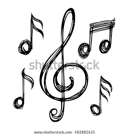 treble clefs notes clef music icons vector illustration hand drawn style