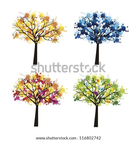tree abstract over white background, weather. vector illustration - stock vector