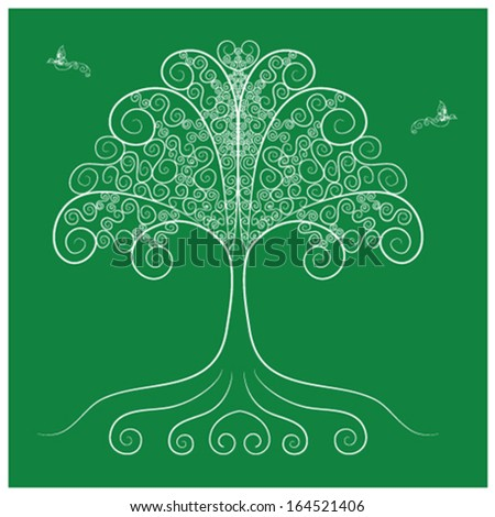 Tree and bird flying from branches vector as retro abstract in green background