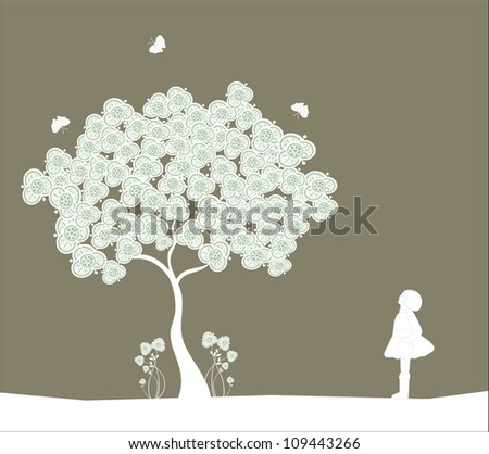 Tree and girl on dark background - stock vector