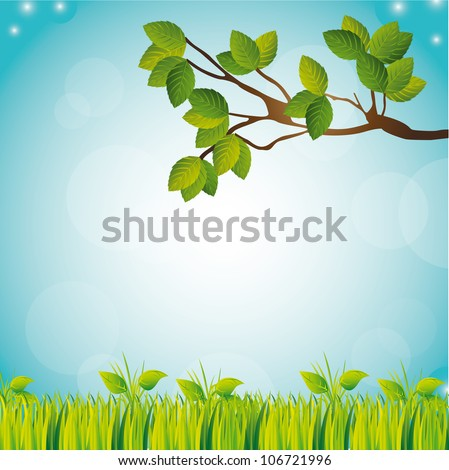 tree and grass with sky, landscape. vector illustration - stock vector