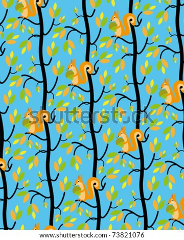 tree and squirrel - stock vector