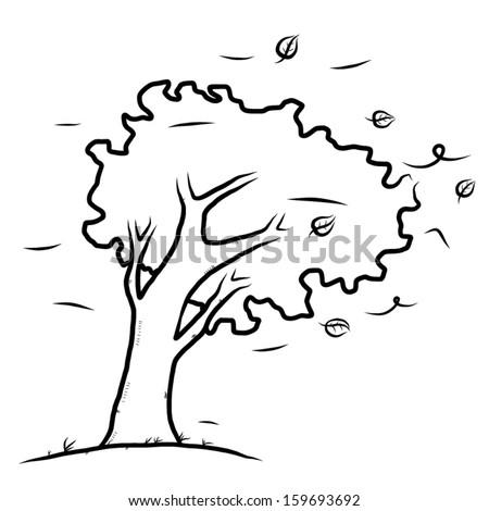 Tree Wind Cartoon Vector Illustration Hand Stock Vector 159693692