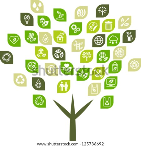 Tree background of eco web icons. - stock vector