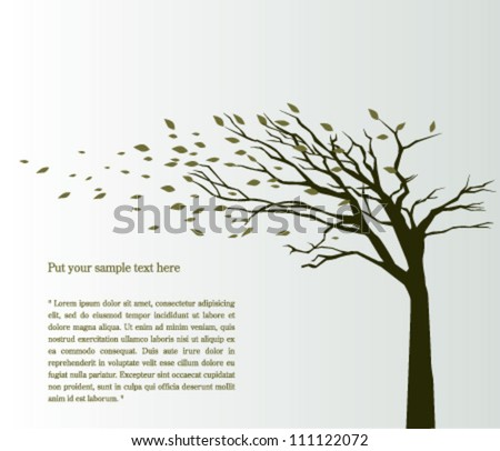 Tree blowing in the wind vector background - stock vector