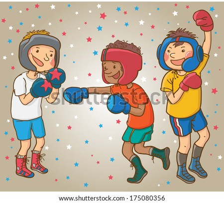 Tree Boxing Boys. Box. Sport activities. Monochrome. Children illustration for School books, magazines, advertising and more. Separate Objects. VECTOR. - stock vector