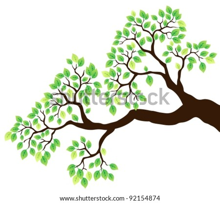 Tree branch with green leaves 1 - vector illustration. - stock vector
