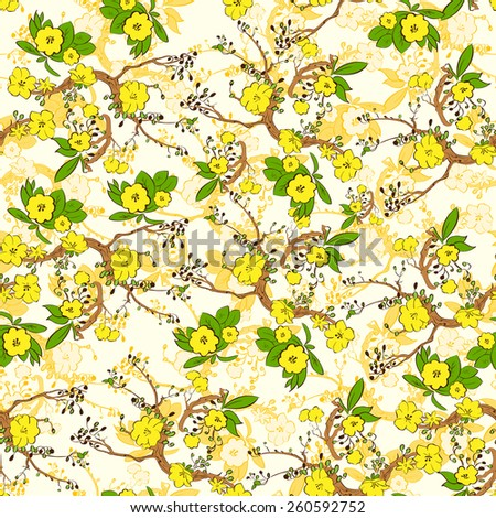 Tree branch with yellow flowers abstract nature plants pattern seamless vector illustration - stock vector