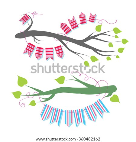 Tree branches vector set - tree branches black silhouette. Spring tree branches with various leaves. Tree branches collection. Black branches vector illustration - design element, page corner decor. - stock vector