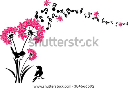 tree branches with flowers - stock vector
