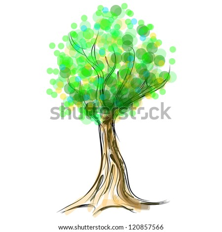 Tree cartoon icon. Sketch fast pencil hand drawing illustration - stock vector