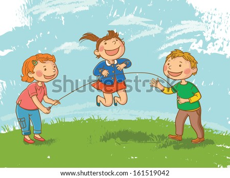 Tree Children Playing Skipping Rope. Children illustration for School books and more. Separate Objects. VECTOR. - stock vector