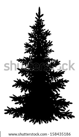 Tree, Christmas fir tree, black silhouette isolated on white background. Vector - stock vector