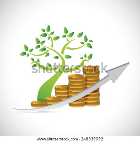 tree coin business graph illustration design over a white background - stock vector
