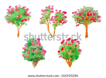 Tree collection - stock vector