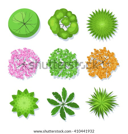 Tree collection top view for landscape design project. Vector set illustration isolated on white background - stock vector