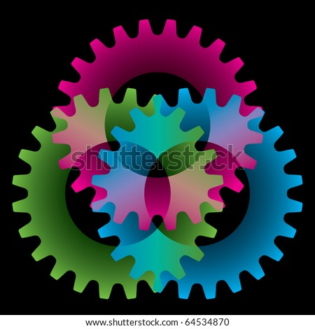 Tree colored gears isolated on black (settings or amalgamation icon) - stock vector