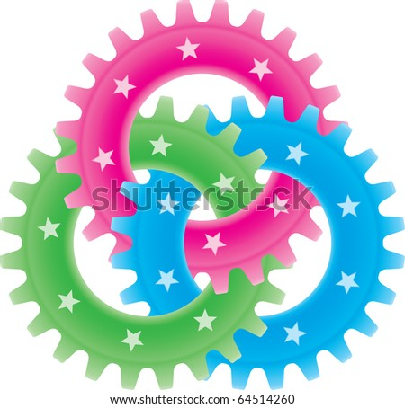 Tree colored gears isolated on white (settings or amalgamation icon) - stock vector