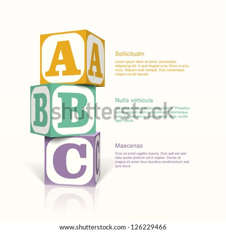 Tree cubes with letters on the sides on a vector background. Step by step concept. EPS10 vector. - stock vector