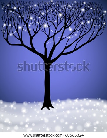 tree decorated by christmas lights - stock vector