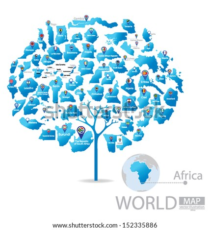 Tree design. Countries in Africa. flag. World Map vector Illustration. - stock vector