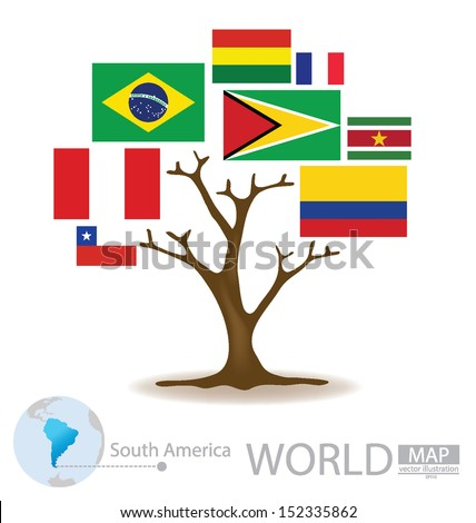 Tree design. Countries in South america. flag. World. Map vector Illustration. - stock vector