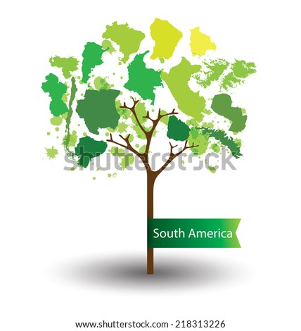 Tree design. Countries in South america. World  Map vector Illustration. - stock vector
