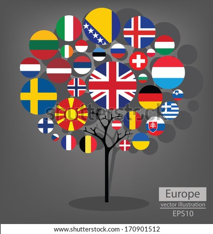 Tree design. Flag of Europe. vector Illustration.