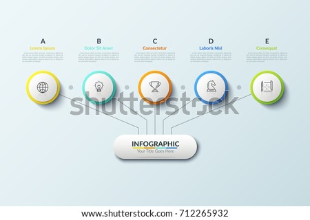 Tree diagram main element connected 5 stock vector 712265932 tree diagram main element connected with 5 thin line icons placed inside paper white circles ccuart Choice Image