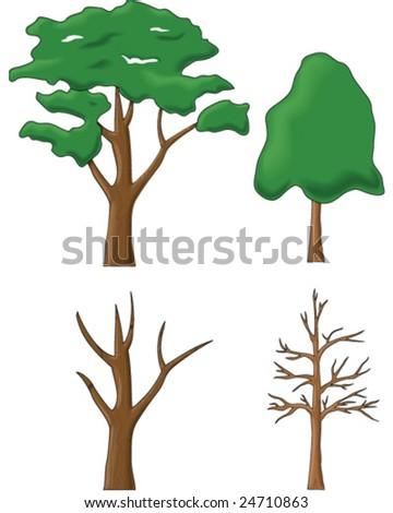 Tree drawings - vector illustrations - stock vector