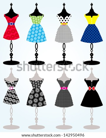 Tree dresses on body forms / fashion mannequin  - stock vector