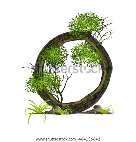 Tree font on White background. Vector font wood style.