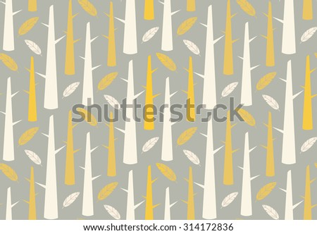 Tree forest with feathers, seamless pattern, vector illustration - stock vector