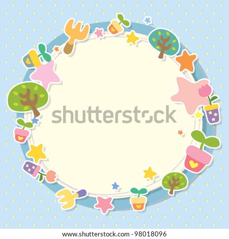 tree - frame circle - stock vector