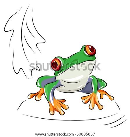 Tree frog - vector cartoon - stock vector