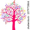 Tree from musical notes.Vector illustration - stock