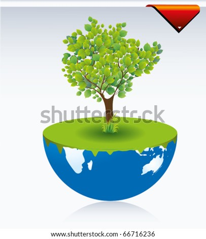 tree, grass and foliage - stock vector