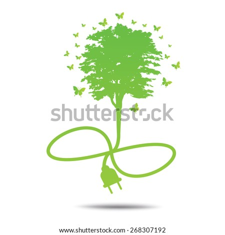 Tree  Green ecology friendly . - stock vector