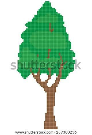 tree green pixel art - stock vector