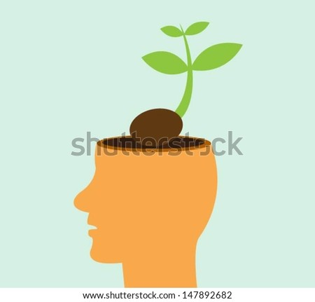 Tree growing from a head, Learning concept - stock vector